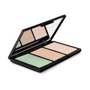 concealerpalette met 3 kleuren - groen - oranje - huidkleurig